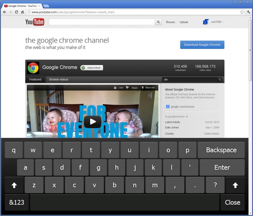 Chrome Virtual Keyboard Extension - xonTAB